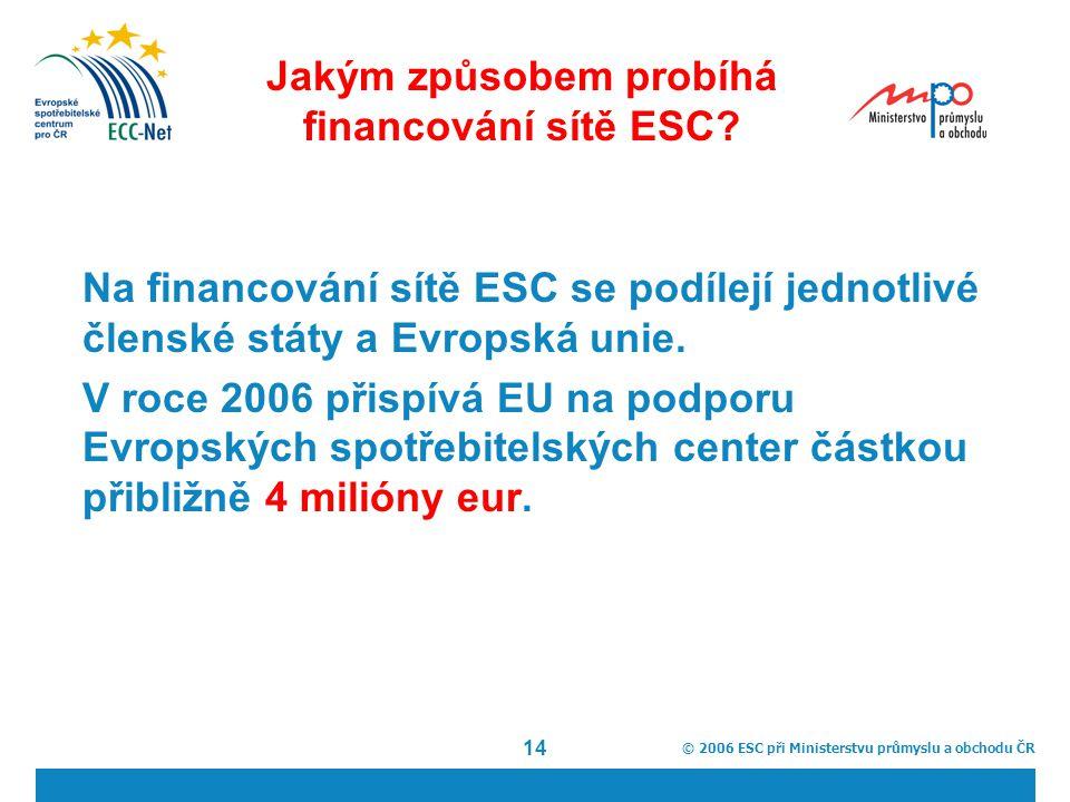 © 2006 ESC při Ministerstvu průmyslu a obchodu ČR 14 Jakým způsobem probíhá financování sítě ESC.