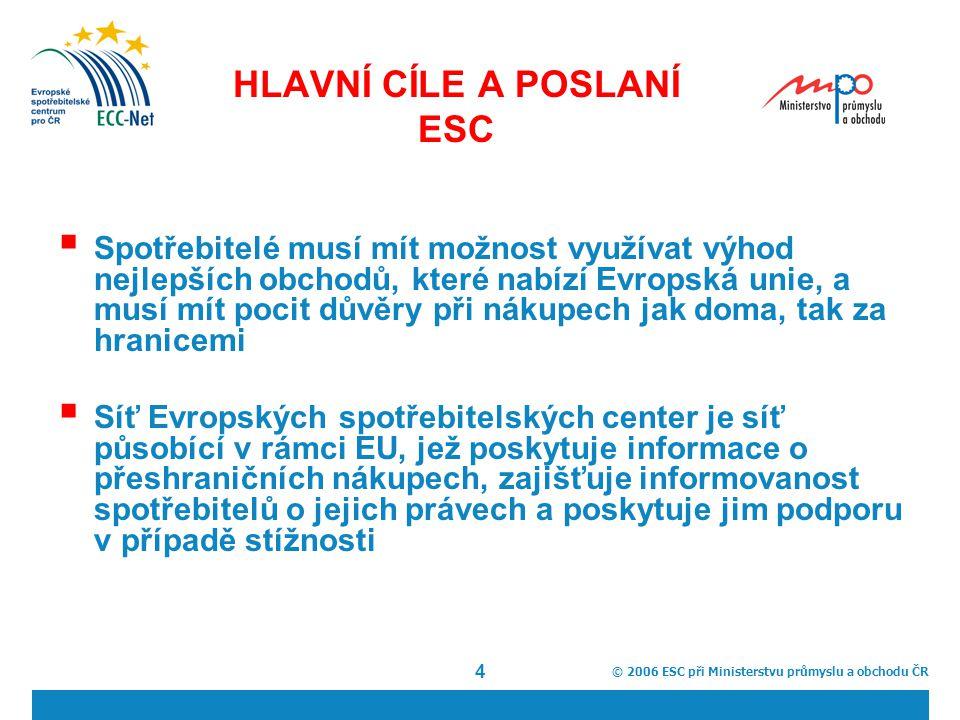 © 2006 ESC při Ministerstvu průmyslu a obchodu ČR 4 HLAVNÍ CÍLE A POSLANÍ ESC  Spotřebitelé musí mít možnost využívat výhod nejlepších obchodů, které nabízí Evropská unie, a musí mít pocit důvěry při nákupech jak doma, tak za hranicemi  Síť Evropských spotřebitelských center je síť působící v rámci EU, jež poskytuje informace o přeshraničních nákupech, zajišťuje informovanost spotřebitelů o jejich právech a poskytuje jim podporu v případě stížnosti