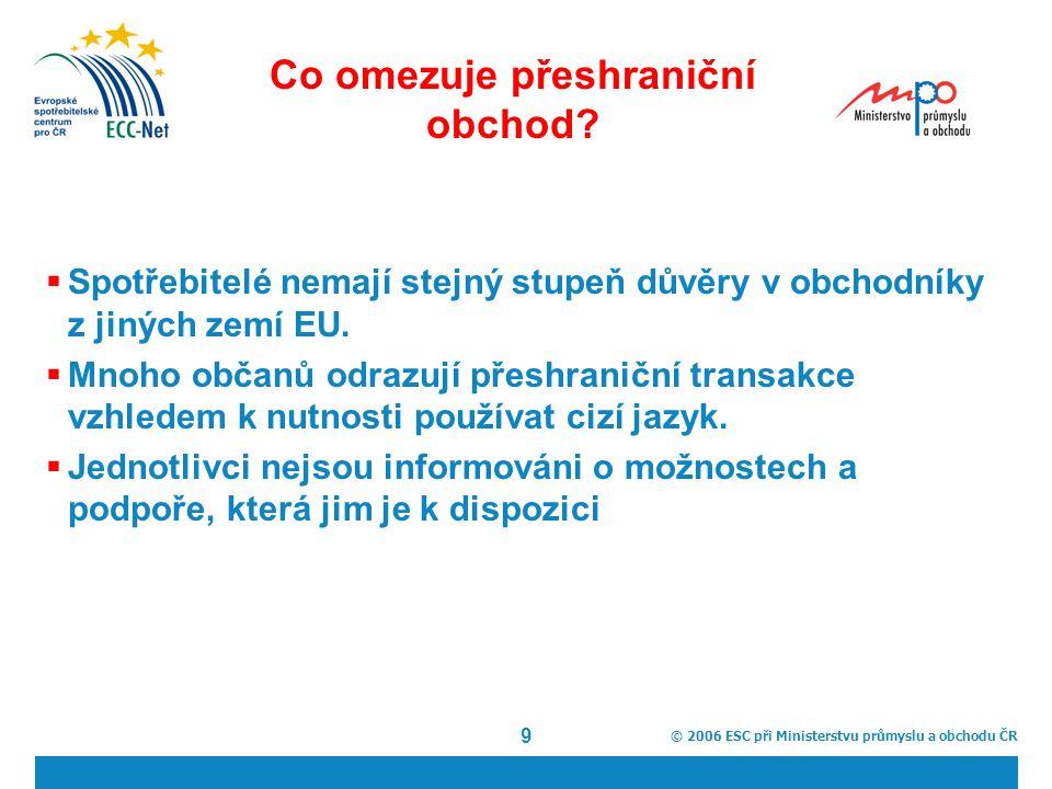 © 2006 ESC při Ministerstvu průmyslu a obchodu ČR 9 Co omezuje přeshraniční obchod.
