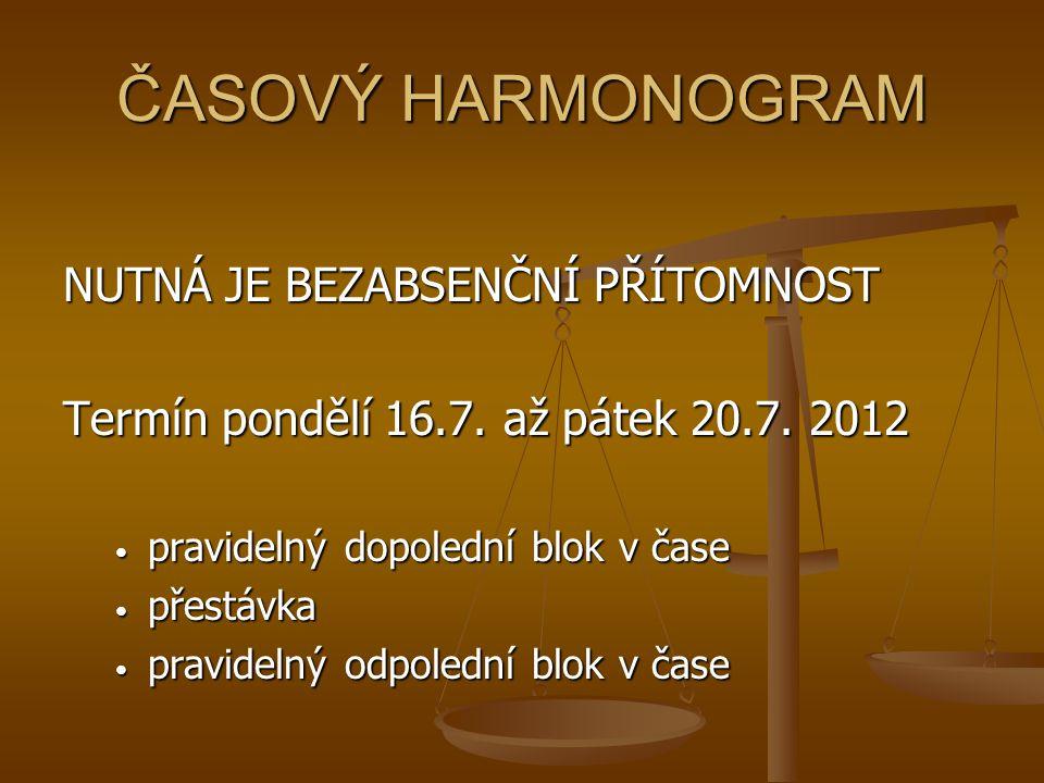 ČASOVÝ HARMONOGRAM NUTNÁ JE BEZABSENČNÍ PŘÍTOMNOST Termín pondělí 16.7.