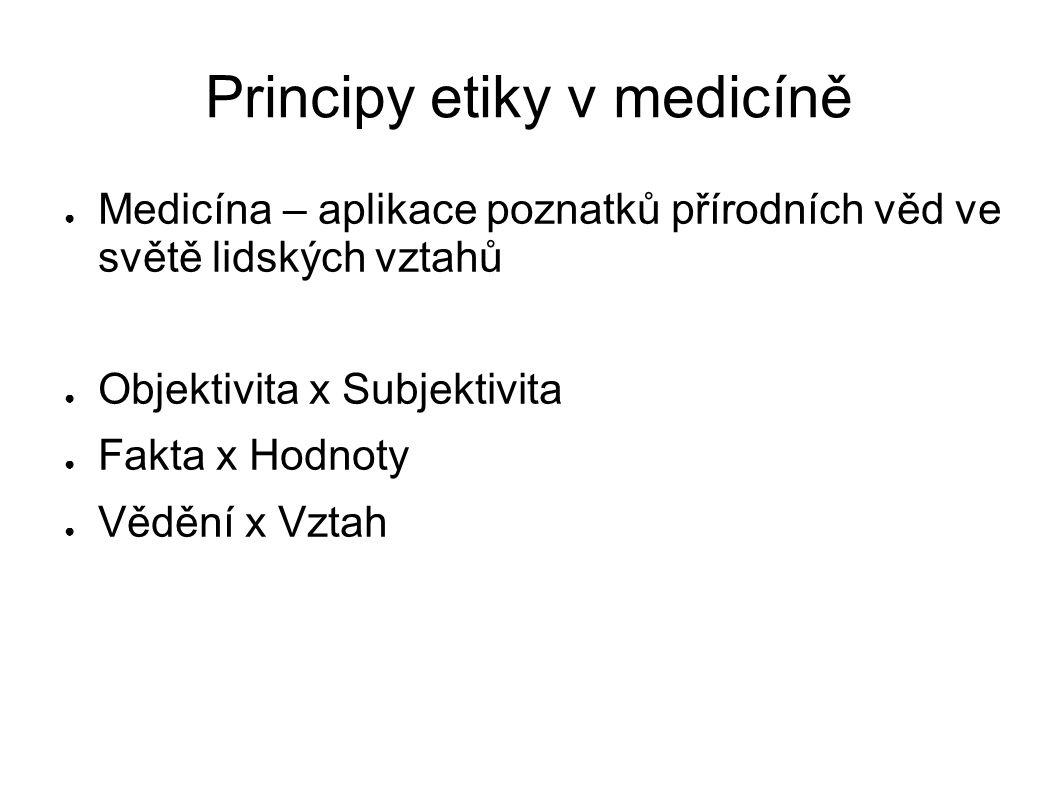 Principy etiky v medicíně ● Medicína – aplikace poznatků přírodních věd ve světě lidských vztahů ● Objektivita x Subjektivita ● Fakta x Hodnoty ● Vědění x Vztah