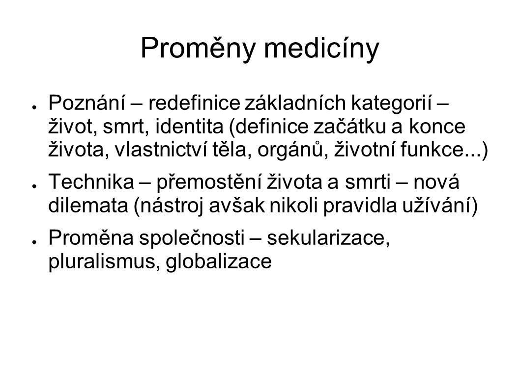 Proměny medicíny ● Poznání – redefinice základních kategorií – život, smrt, identita (definice začátku a konce života, vlastnictví těla, orgánů, život