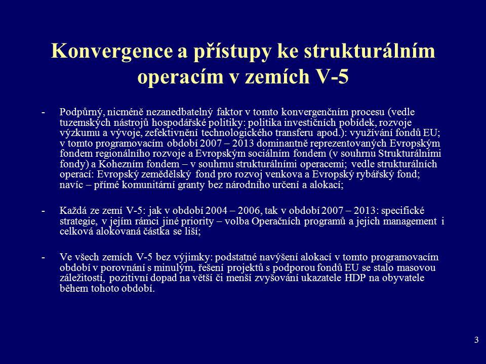 3 Konvergence a přístupy ke strukturálním operacím v zemích V-5 -Podpůrný, nicméně nezanedbatelný faktor v tomto konvergenčním procesu (vedle tuzemský