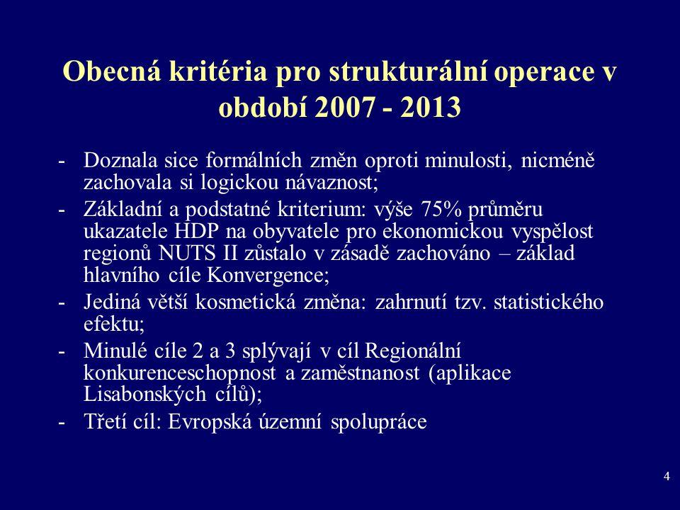 4 Obecná kritéria pro strukturální operace v období 2007 - 2013 -Doznala sice formálních změn oproti minulosti, nicméně zachovala si logickou návaznos