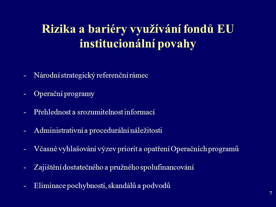 7 Rizika a bariéry využívání fondů EU institucionální povahy -Národní strategický referenční rámec -Operační programy -Přehlednost a srozumitelnost in