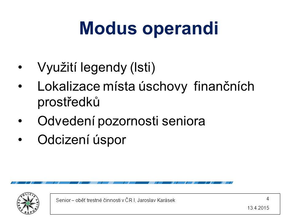 Modus operandi Využití legendy (lsti) Lokalizace místa úschovy finančních prostředků Odvedení pozornosti seniora Odcizení úspor 13.4.2015 Senior – obě