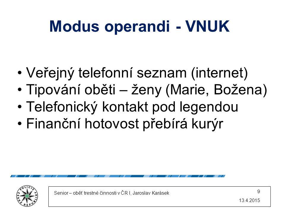 Modus operandi - VNUK Veřejný telefonní seznam (internet) Tipování oběti – ženy (Marie, Božena) Telefonický kontakt pod legendou Finanční hotovost pře