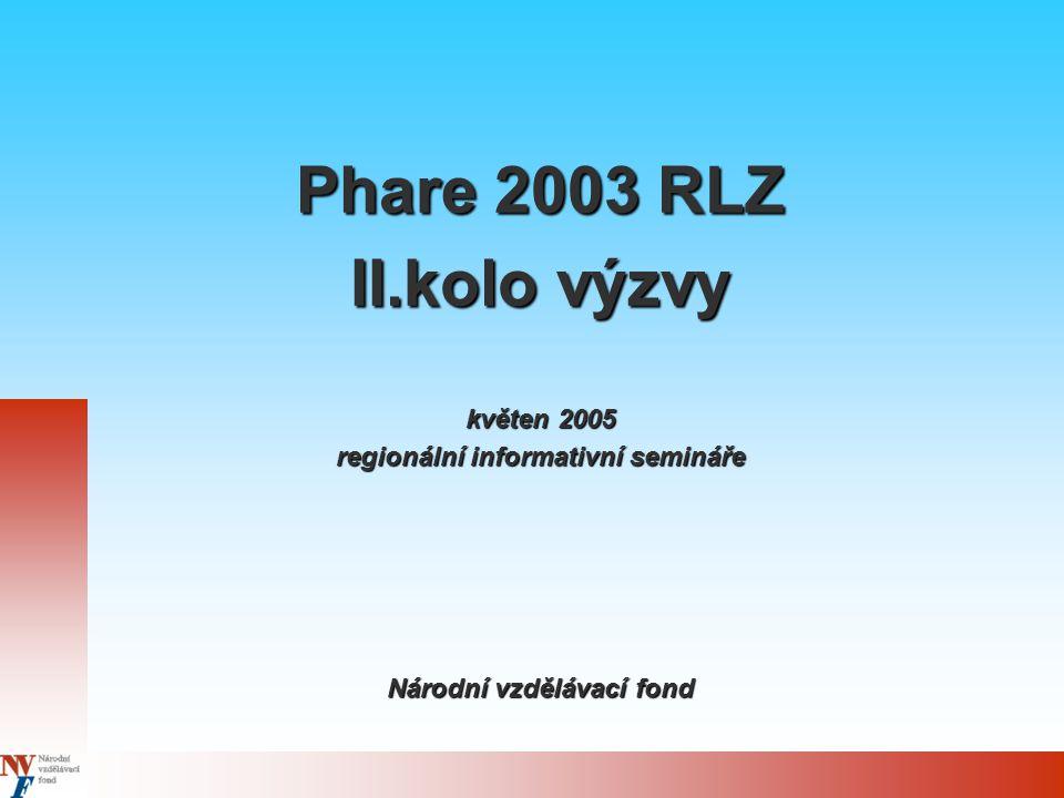 Phare 2003 RLZ II.kolo výzvy květen 2005 regionální informativní semináře Národní vzdělávací fond