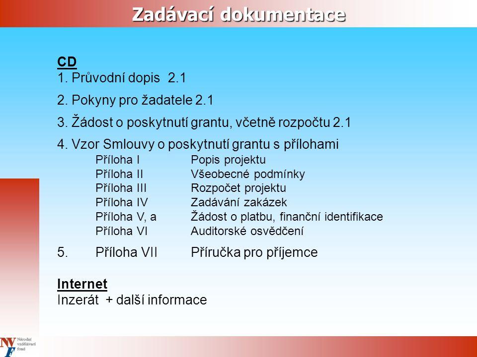Zadávací dokumentace CD 1. Průvodní dopis 2.1 2. Pokyny pro žadatele 2.1 3.