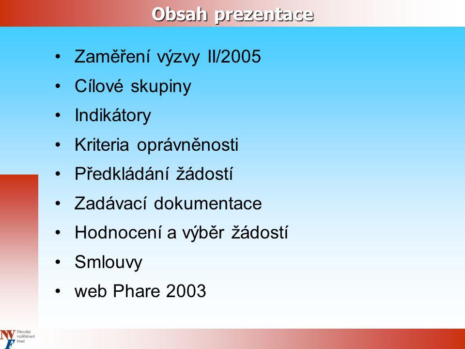Obsah prezentace Zaměření výzvy II/2005 Cílové skupiny Indikátory Kriteria oprávněnosti Předkládání žádostí Zadávací dokumentace Hodnocení a výběr žádostí Smlouvy web Phare 2003
