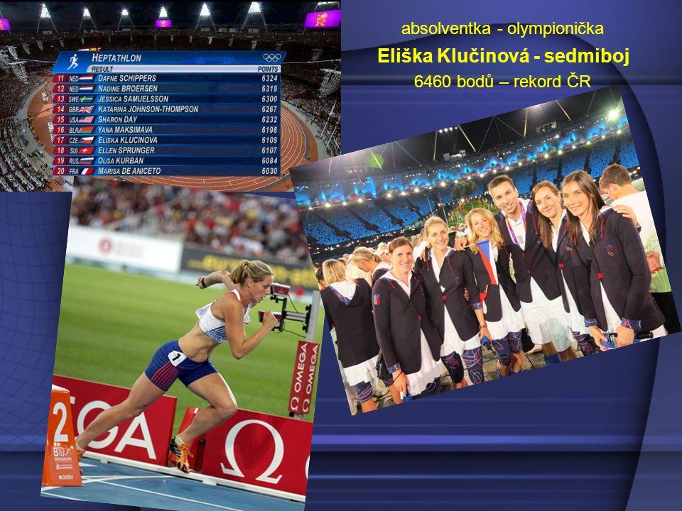 absolventka - olympionička Eliška Klučinová - sedmiboj 6460 bodů – rekord ČR
