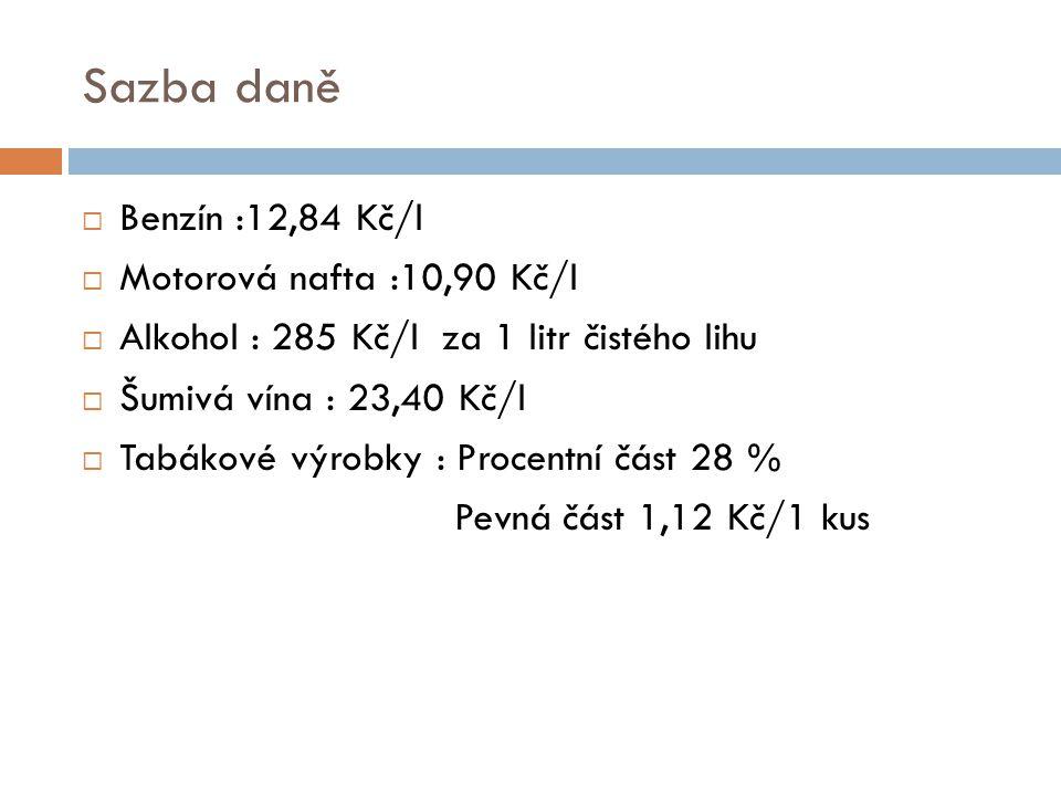 Sazba daně  Benzín :12,84 Kč/l  Motorová nafta :10,90 Kč/l  Alkohol : 285 Kč/l za 1 litr čistého lihu  Šumivá vína : 23,40 Kč/l  Tabákové výrobky