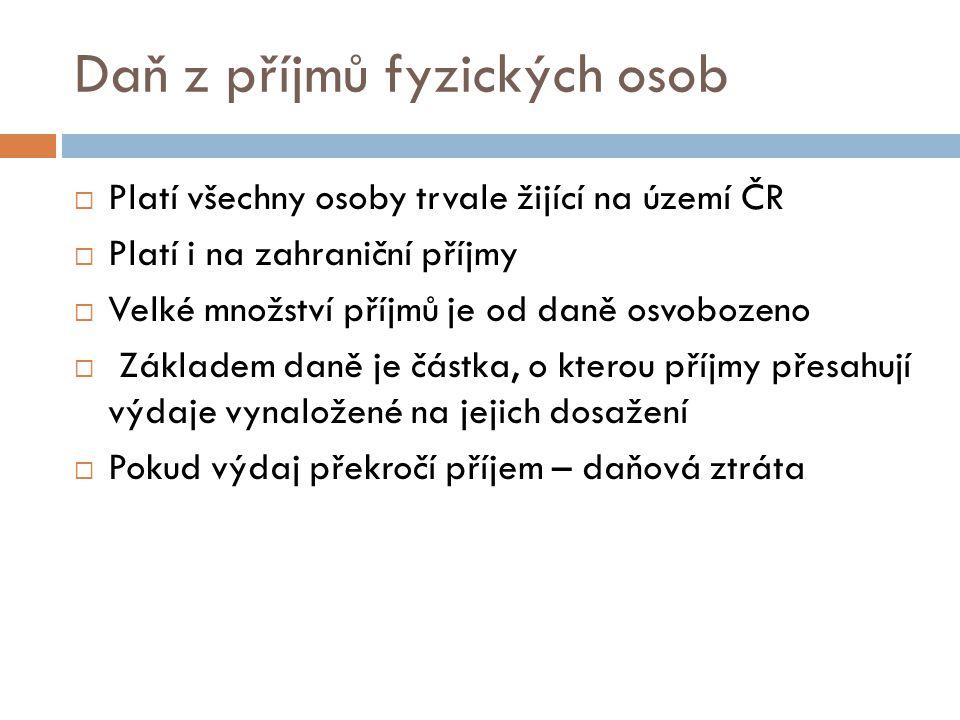Daň z příjmů fyzických osob  Platí všechny osoby trvale žijící na území ČR  Platí i na zahraniční příjmy  Velké množství příjmů je od daně osvoboze