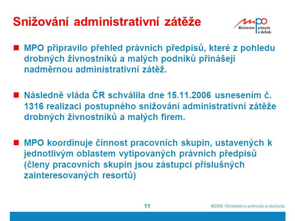  2006  Ministerstvo průmyslu a obchodu 11 Snižování administrativní zátěže MPO připravilo přehled právních předpisů, které z pohledu drobných živnostníků a malých podniků přinášejí nadměrnou administrativní zátěž.