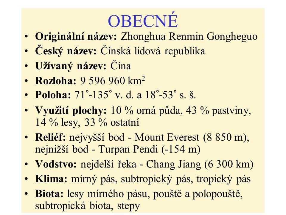 OBECNÉ Originální název: Zhonghua Renmin Gongheguo Český název: Čínská lidová republika Užívaný název: Čína Rozloha: 9 596 960 km 2 Poloha: 71°-135° v.