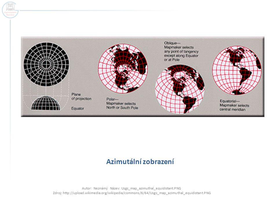 Azimutální zobrazení Autor: Neznámý Název: Usgs_map_azimuthal_equidistant.PNG Zdroj: http://upload.wikimedia.org/wikipedia/commons/6/64/Usgs_map_azimu