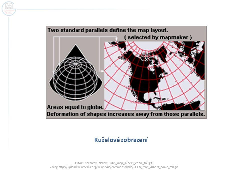 Kuželové zobrazení Autor: Neznámý Název: USGS_map_Albers_conic_tall.gif Zdroj: http://upload.wikimedia.org/wikipedia/commons/d/da/USGS_map_Albers_coni