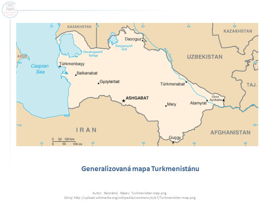 Generalizovaná mapa Turkmenistánu Autor: Neznámý Název: Turkmenistan-map.png Zdroj: http://upload.wikimedia.org/wikipedia/commons/e/e7/Turkmenistan-map.png