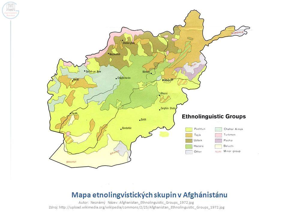 Mapa etnolingvistických skupin v Afghánistánu Autor: Neznámý Název: Afghanistan_Ethnolinguistic_Groups_1972.jpg Zdroj: http://upload.wikimedia.org/wik