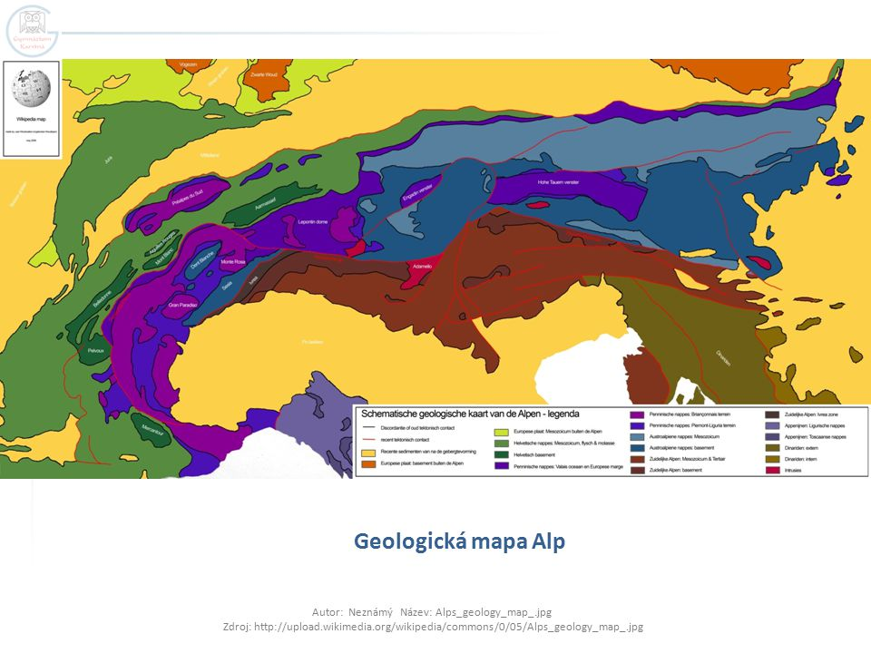 Geologická mapa Alp Autor: Neznámý Název: Alps_geology_map_.jpg Zdroj: http://upload.wikimedia.org/wikipedia/commons/0/05/Alps_geology_map_.jpg