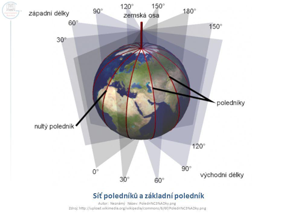Síť poledníků a základní poledník Autor: Neznámý Název: Poledn%C3%ADky.png Zdroj: http://upload.wikimedia.org/wikipedia/commons/6/6f/Poledn%C3%ADky.pn