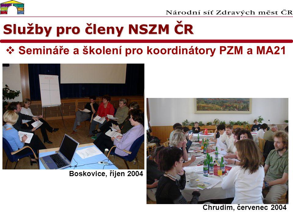 Služby pro členy NSZM ČR  Semináře a školení pro koordinátory PZM a MA21 Boskovice, říjen 2004 Chrudim, červenec 2004