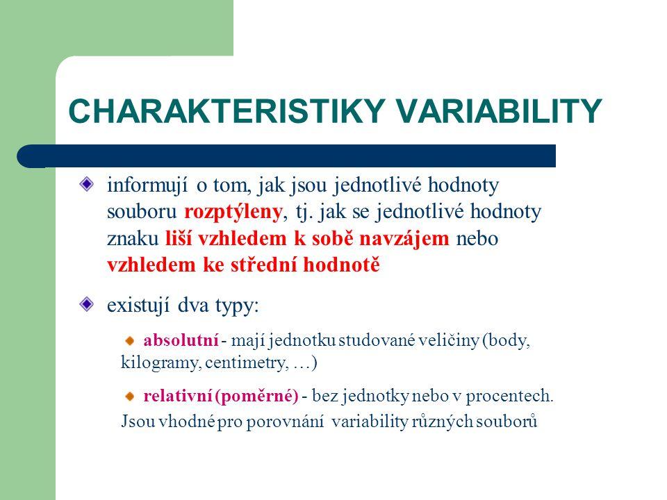 CHARAKTERISTIKY VARIABILITY informují o tom, jak jsou jednotlivé hodnoty souboru rozptýleny, tj. jak se jednotlivé hodnoty znaku liší vzhledem k sobě