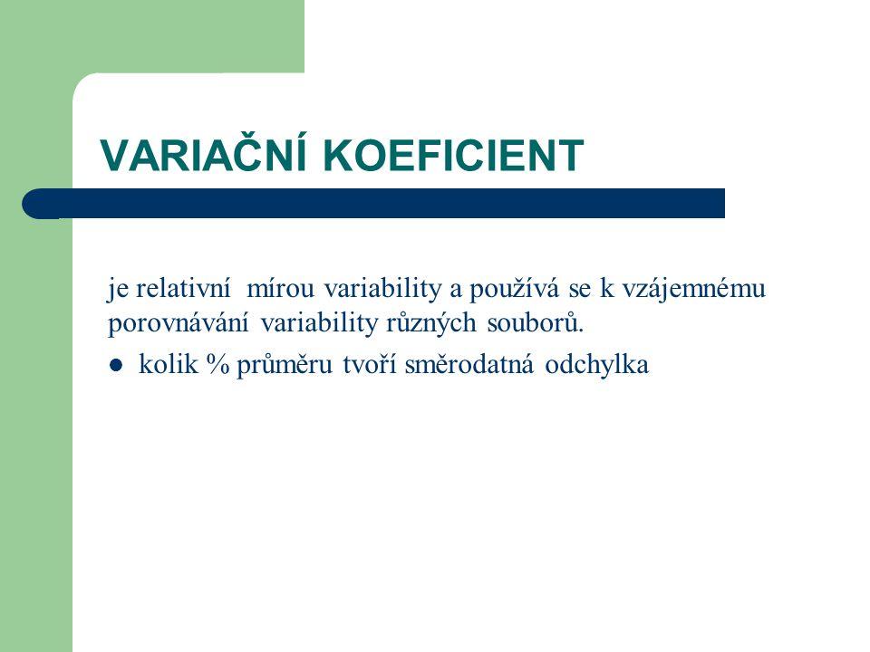 VARIAČNÍ KOEFICIENT je relativní mírou variability a používá se k vzájemnému porovnávání variability různých souborů. kolik % průměru tvoří směrodatná