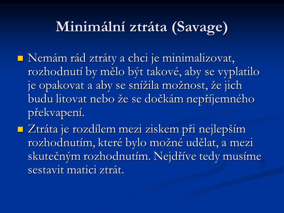 Minimální ztráta (Savage) Nemám rád ztráty a chci je minimalizovat, rozhodnutí by mělo být takové, aby se vyplatilo je opakovat a aby se snížila možno