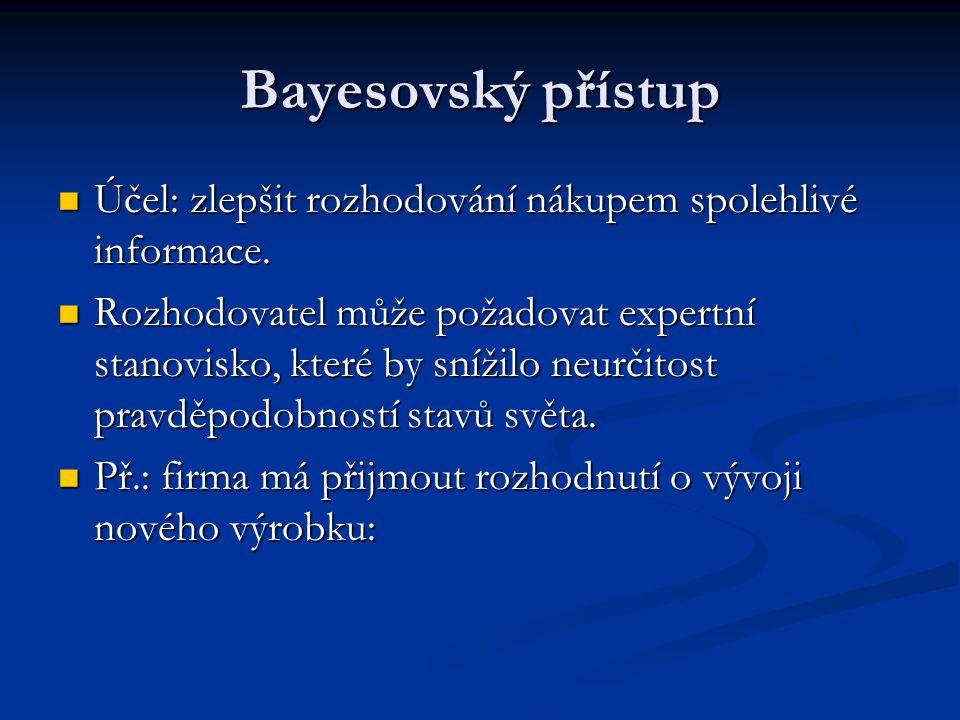 Bayesovský přístup Účel: zlepšit rozhodování nákupem spolehlivé informace. Účel: zlepšit rozhodování nákupem spolehlivé informace. Rozhodovatel může p