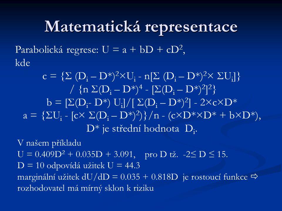 Matematická representace Parabolická regrese: U = a + bD + cD 2, kde c = {Σ (D i – D*) 2 ×U i - n[Σ (D i – D*) 2 × ΣU i ]} / {n Σ(D i – D*) 4 - [Σ(D i