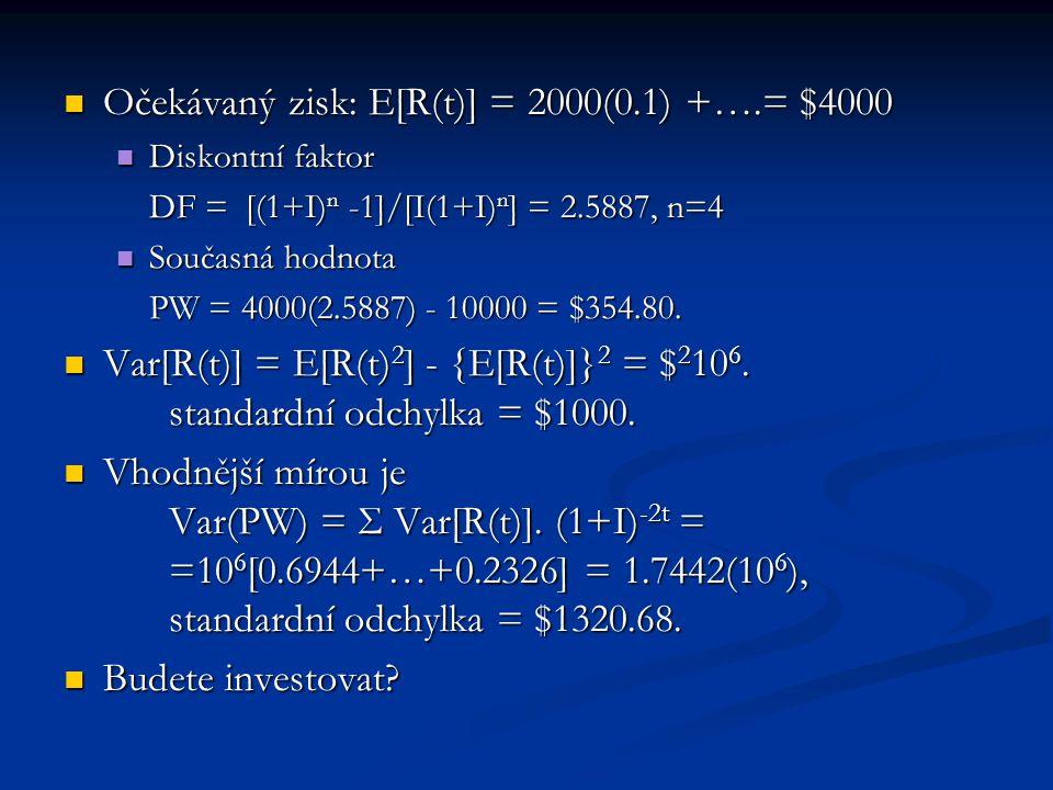 Očekávaný zisk: E[R(t)] = 2000(0.1) +….= $4000 Očekávaný zisk: E[R(t)] = 2000(0.1) +….= $4000 Diskontní faktor Diskontní faktor DF = [(1+I) n -1]/[I(1