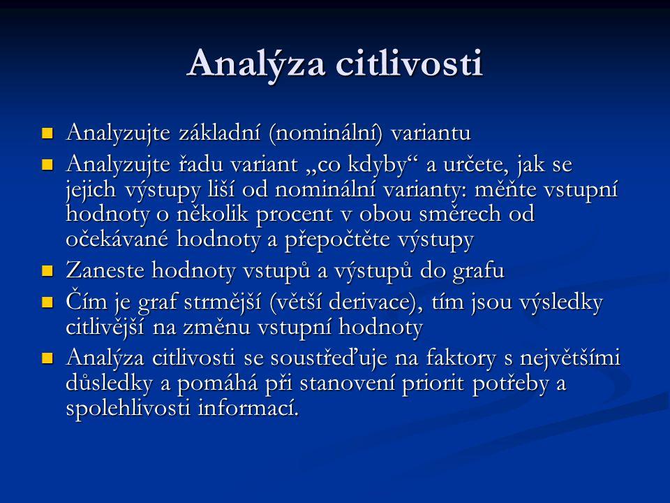"""Analýza citlivosti Analyzujte základní (nominální) variantu Analyzujte základní (nominální) variantu Analyzujte řadu variant """"co kdyby"""" a určete, jak"""