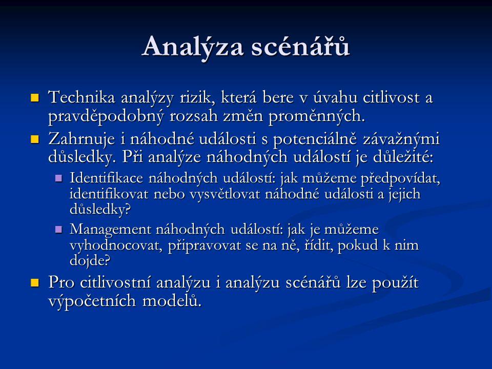 Analýza scénářů Technika analýzy rizik, která bere v úvahu citlivost a pravděpodobný rozsah změn proměnných. Technika analýzy rizik, která bere v úvah