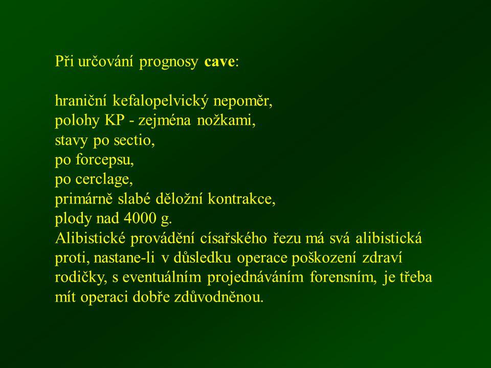 Při určování prognosy cave: hraniční kefalopelvický nepoměr, polohy KP - zejména nožkami, stavy po sectio, po forcepsu, po cerclage, primárně slabé dě