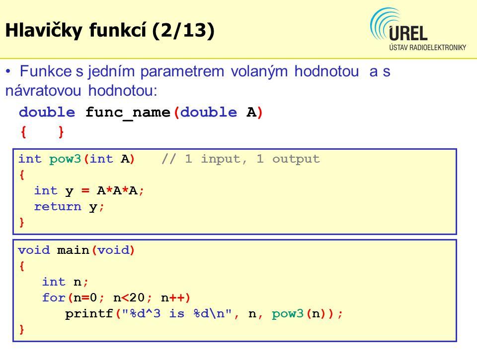 double func_name(double A) { } int pow3(int A) // 1 input, 1 output { int y = A*A*A; return y; } Funkce s jedním parametrem volaným hodnotou a s návratovou hodnotou: void main(void) { int n; for(n=0; n<20; n++) printf( %d^3 is %d\n , n, pow3(n)); } Hlavičky funkcí (2/13)
