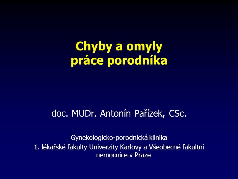 Chyby a omyly práce porodníka doc.MUDr. Antonín Pařízek, CSc.