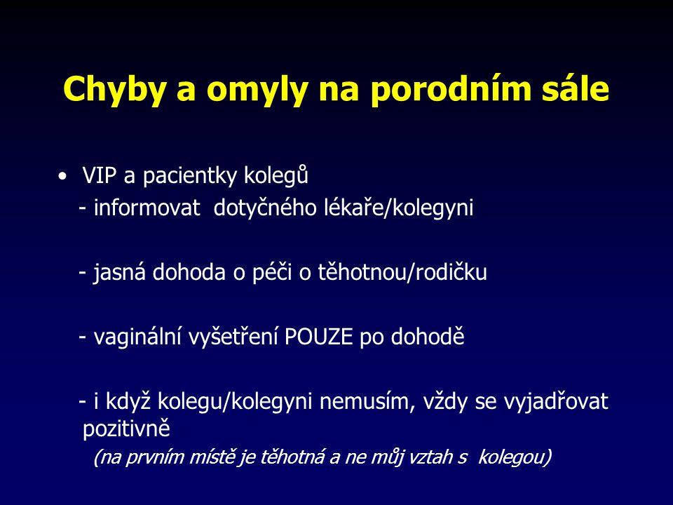 Chyby a omyly na porodním sále VIP a pacientky kolegů - informovat dotyčného lékaře/kolegyni - jasná dohoda o péči o těhotnou/rodičku - vaginální vyšetření POUZE po dohodě - i když kolegu/kolegyni nemusím, vždy se vyjadřovat pozitivně (na prvním místě je těhotná a ne můj vztah s kolegou)