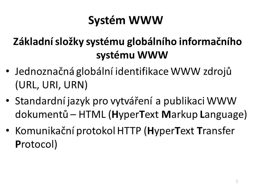 Základní složky systému globálního informačního systému WWW Jednoznačná globální identifikace WWW zdrojů (URL, URI, URN) Standardní jazyk pro vytváření a publikaci WWW dokumentů – HTML (HyperText Markup Language) Komunikační protokol HTTP (HyperText Transfer Protocol) 1 Systém WWW