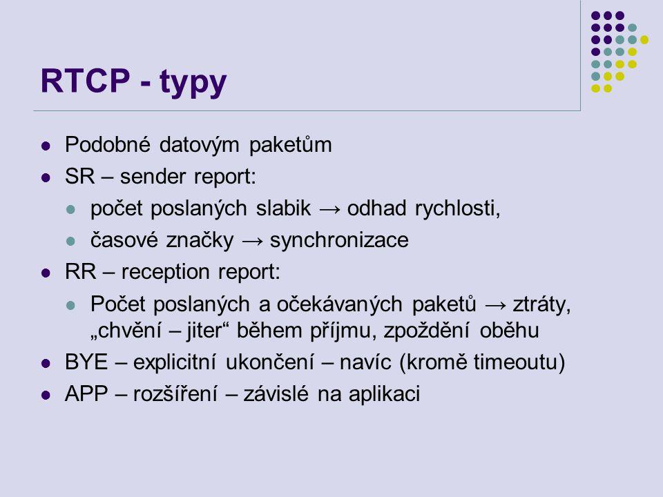 """RTCP - typy Podobné datovým paketům SR – sender report: počet poslaných slabik → odhad rychlosti, časové značky → synchronizace RR – reception report: Počet poslaných a očekávaných paketů → ztráty, """"chvění – jiter během příjmu, zpoždění oběhu BYE – explicitní ukončení – navíc (kromě timeoutu) APP – rozšíření – závislé na aplikaci"""