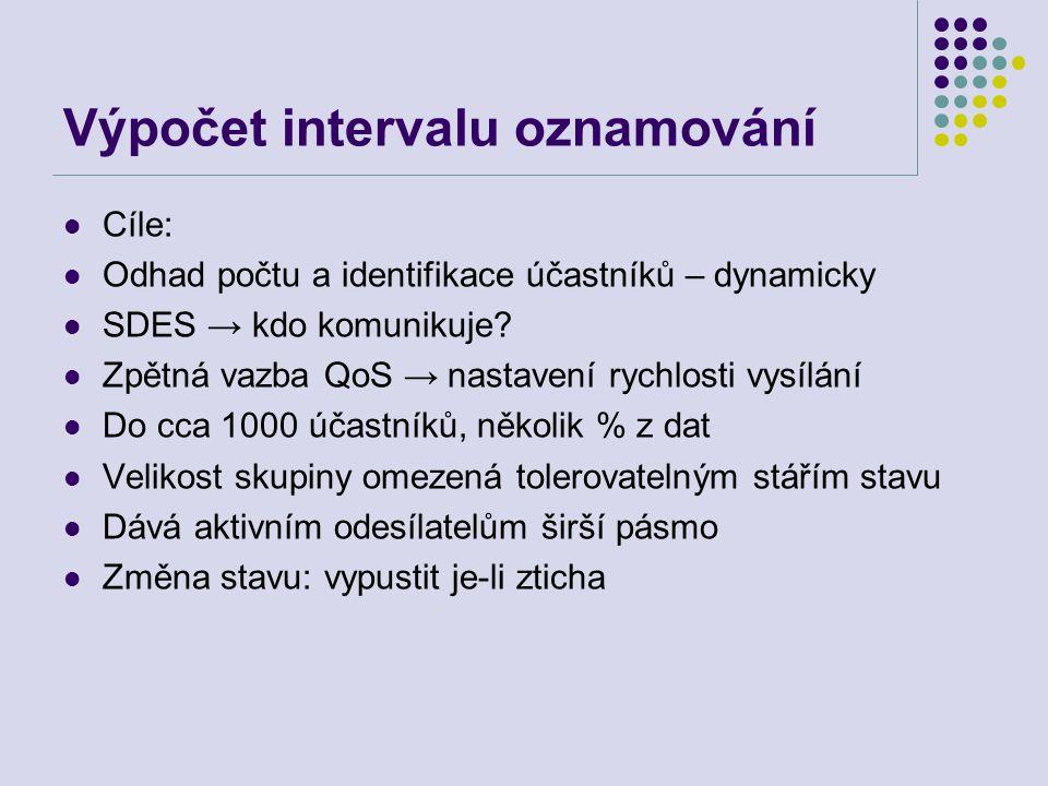 Výpočet intervalu oznamování Cíle: Odhad počtu a identifikace účastníků – dynamicky SDES → kdo komunikuje.