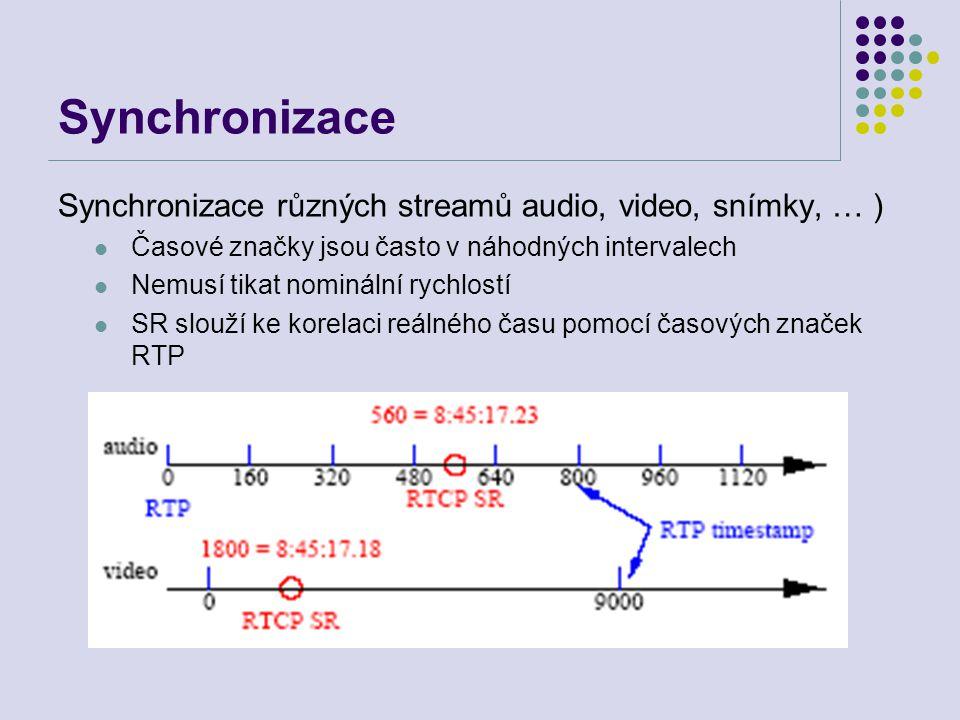 Synchronizace Synchronizace různých streamů audio, video, snímky, … ) Časové značky jsou často v náhodných intervalech Nemusí tikat nominální rychlostí SR slouží ke korelaci reálného času pomocí časových značek RTP