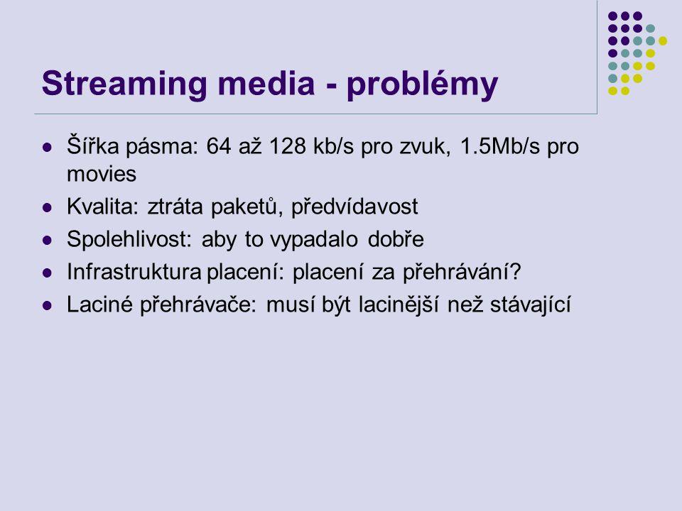 Streaming media - problémy Šířka pásma: 64 až 128 kb/s pro zvuk, 1.5Mb/s pro movies Kvalita: ztráta paketů, předvídavost Spolehlivost: aby to vypadalo dobře Infrastruktura placení: placení za přehrávání.