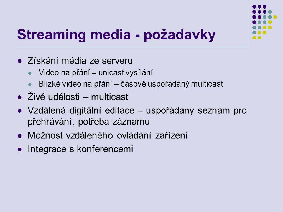 Streaming media - požadavky Získání média ze serveru Video na přání – unicast vysílání Blízké video na přání – časově uspořádaný multicast Živé události – multicast Vzdálená digitální editace – uspořádaný seznam pro přehrávání, potřeba záznamu Možnost vzdáleného ovládání zařízení Integrace s konferencemi