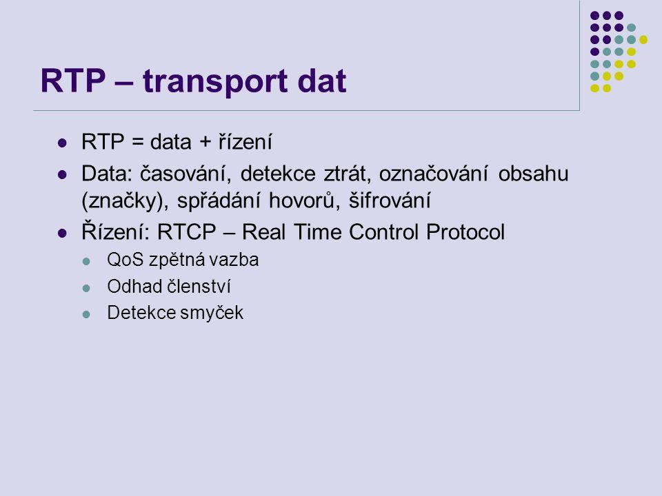 RTP – transport dat RTP = data + řízení Data: časování, detekce ztrát, označování obsahu (značky), spřádání hovorů, šifrování Řízení: RTCP – Real Time Control Protocol QoS zpětná vazba Odhad členství Detekce smyček