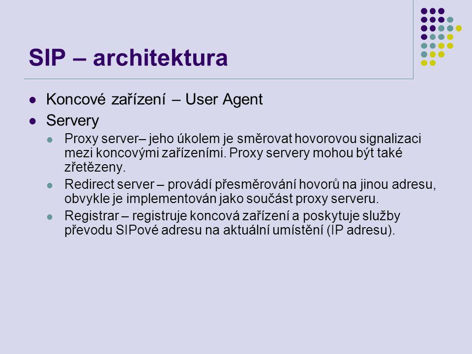 SIP – architektura Koncové zařízení – User Agent Servery Proxy server– jeho úkolem je směrovat hovorovou signalizaci mezi koncovými zařízeními.
