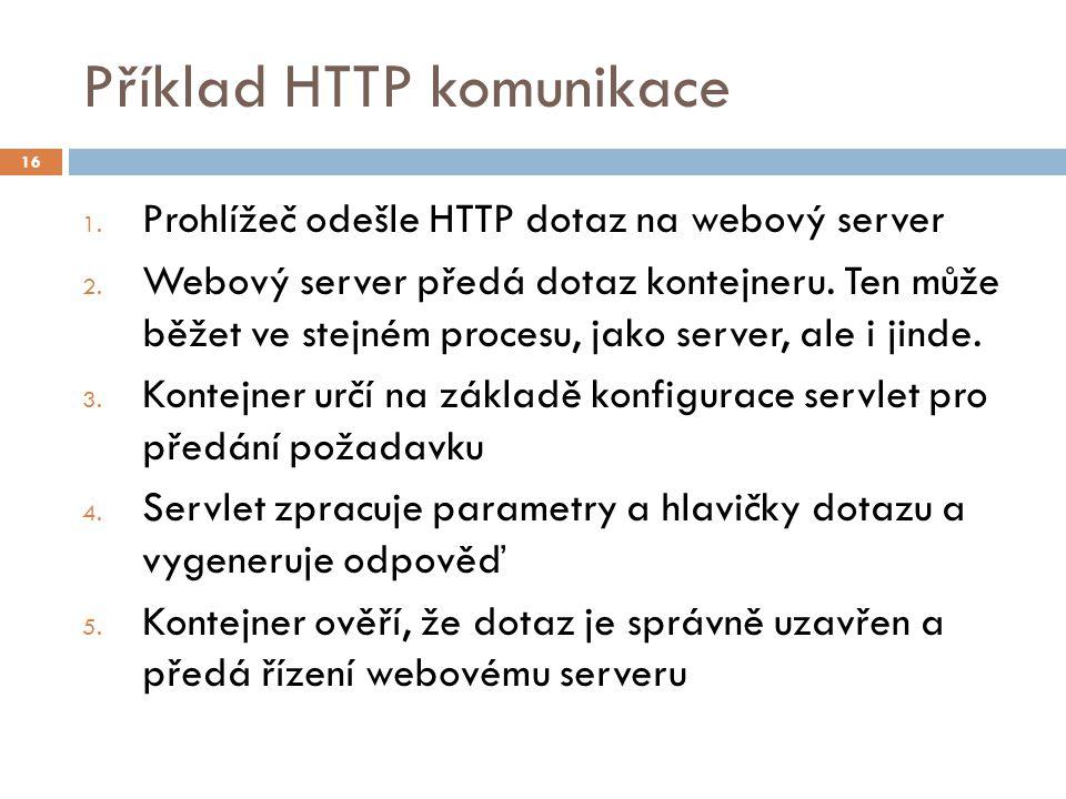 Příklad HTTP komunikace 1. Prohlížeč odešle HTTP dotaz na webový server 2.