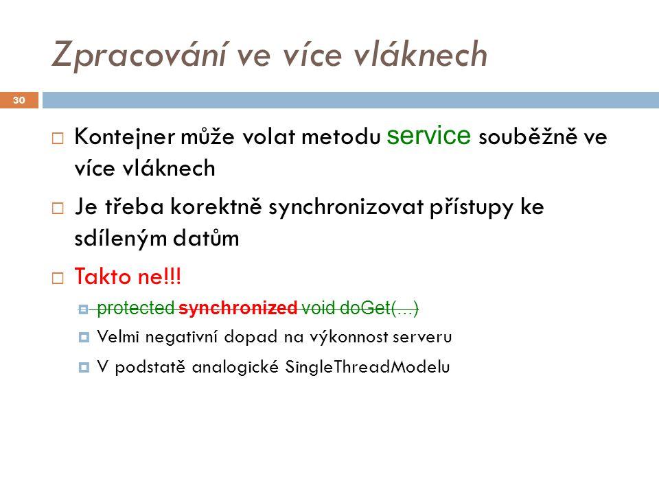 Zpracování ve více vláknech  Kontejner může volat metodu service souběžně ve více vláknech  Je třeba korektně synchronizovat přístupy ke sdíleným datům  Takto ne!!.