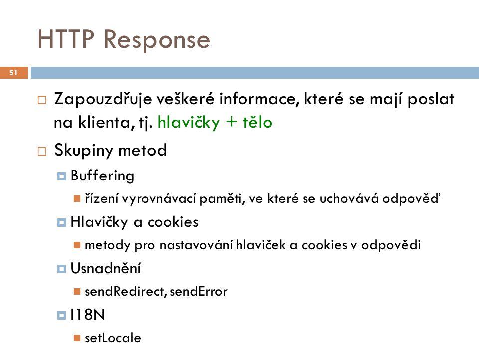 HTTP Response  Zapouzdřuje veškeré informace, které se mají poslat na klienta, tj.