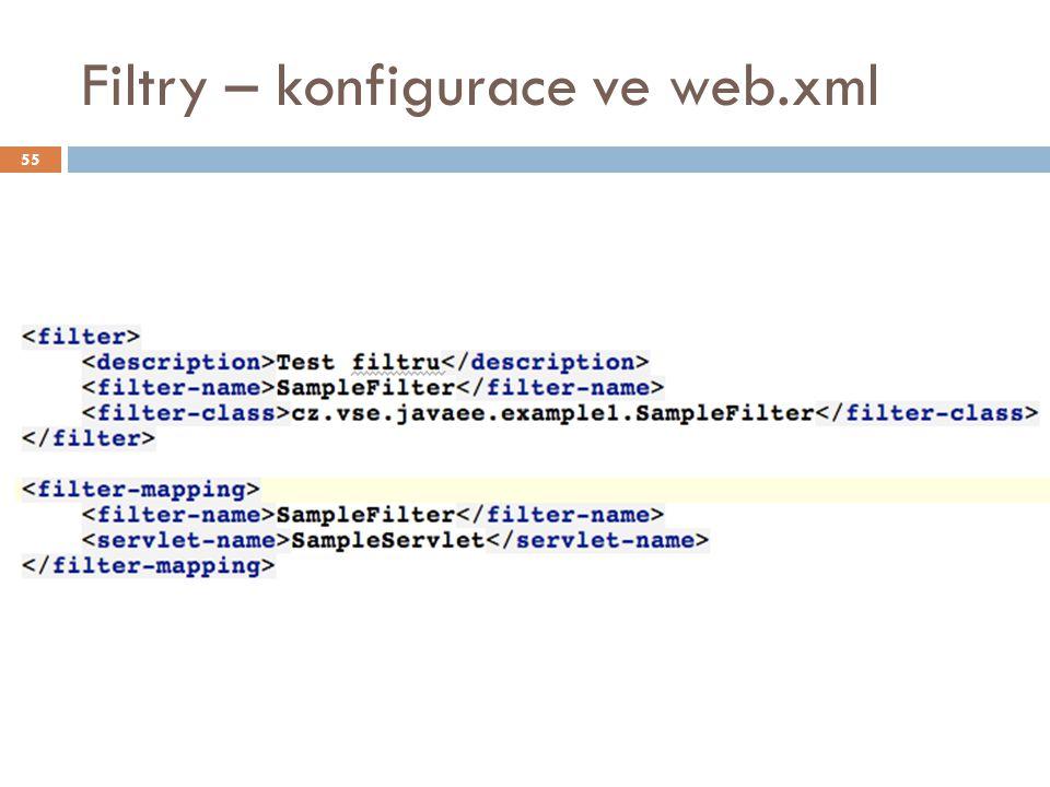 Filtry – konfigurace ve web.xml 55